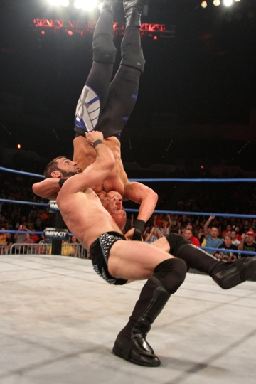 Austin Aries hits his brainbuster on Christopher Daniels