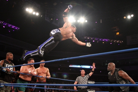 A.J. Styles hits his flying forearm
